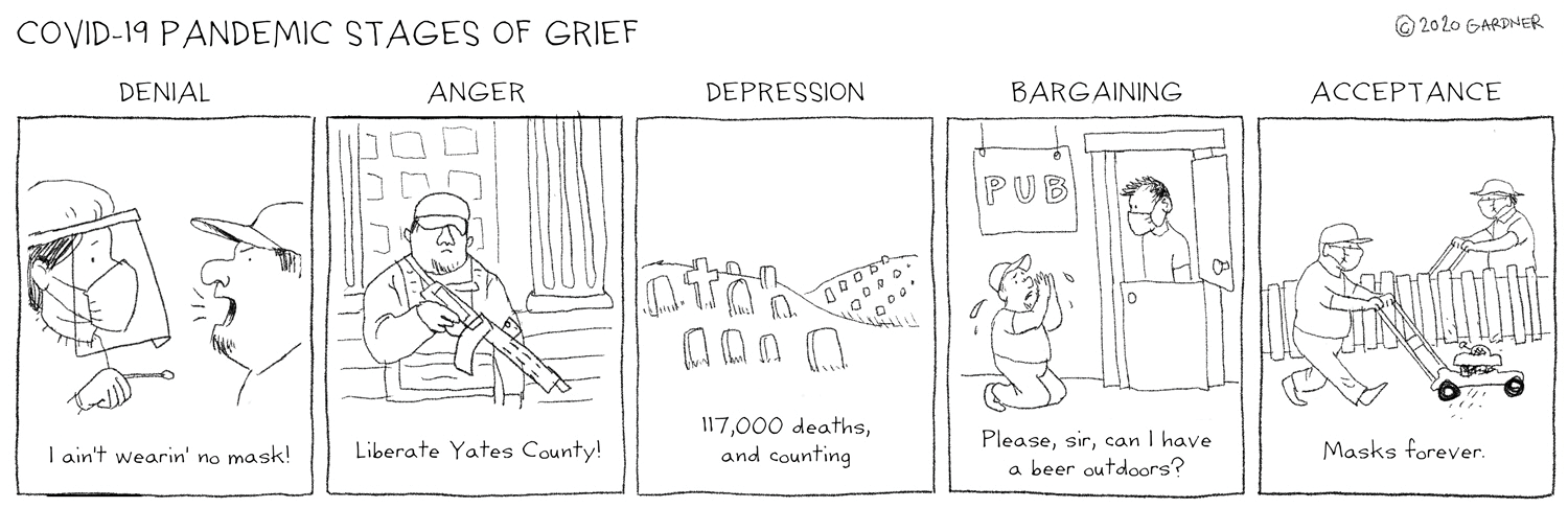 Cartoon by Sally-Covid 19 Pandemic Stages of Grief |